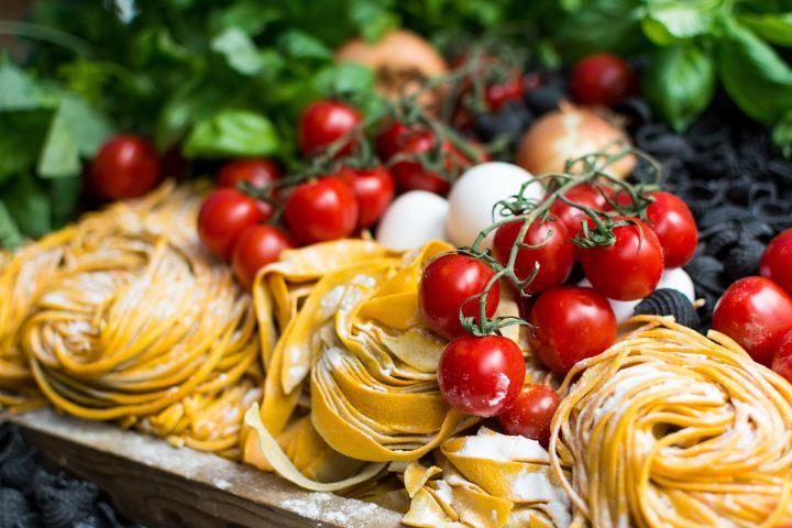 italian market. pasta and tomatoes.